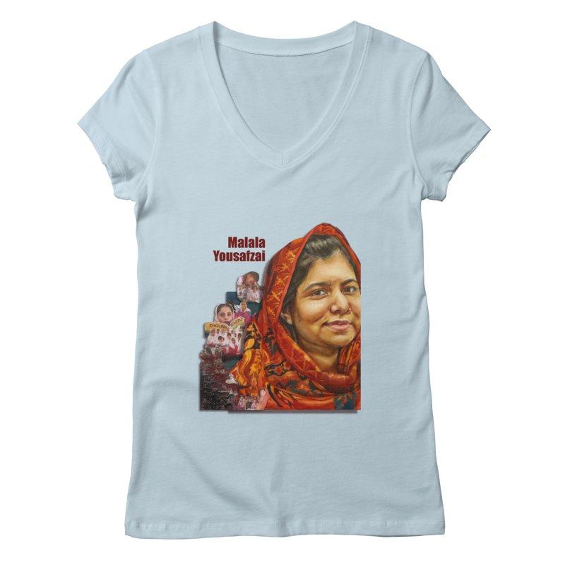 Malala Yousafzai Women's V-Neck by Afro Triangle's