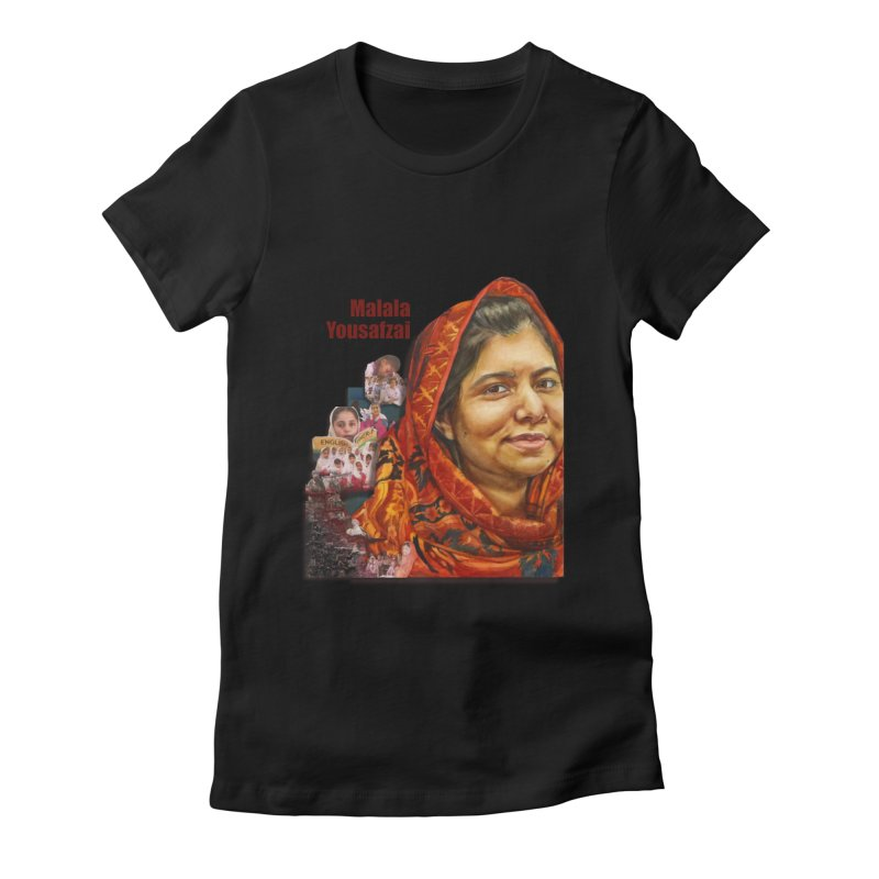 Malala Yousafzai in Women's Fitted T-Shirt Black by Afro Triangle's