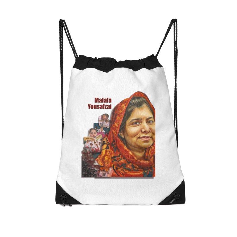 Malala Yousafzai Accessories Drawstring Bag Bag by Afro Triangle's