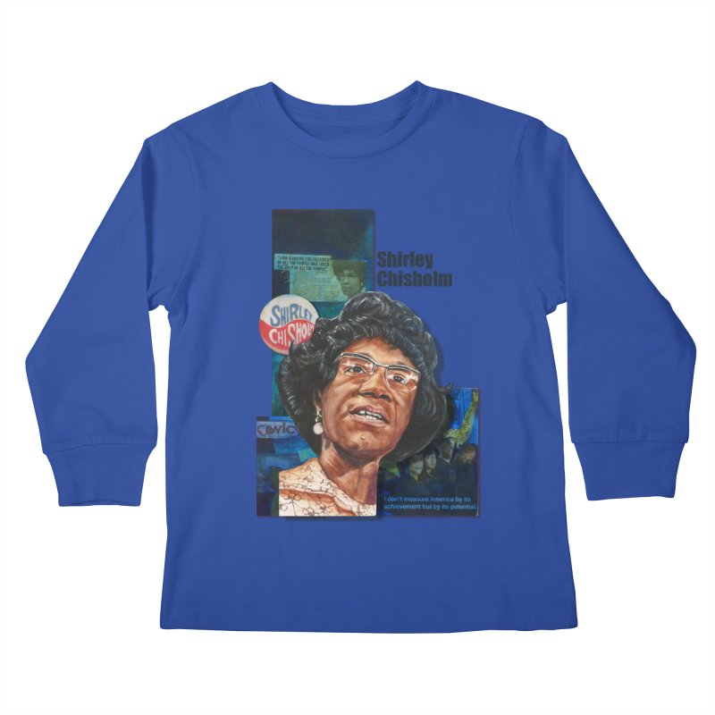 Shirley Chisholm Kids Longsleeve T-Shirt by Afro Triangle's