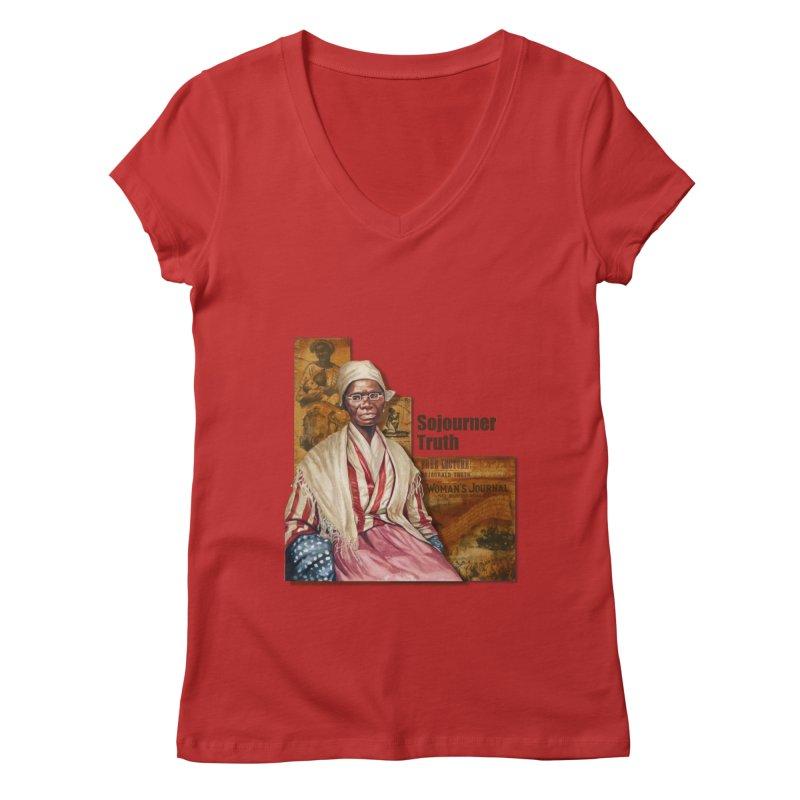 Sojourner Truth in Women's V-Neck Red by Afro Triangle's