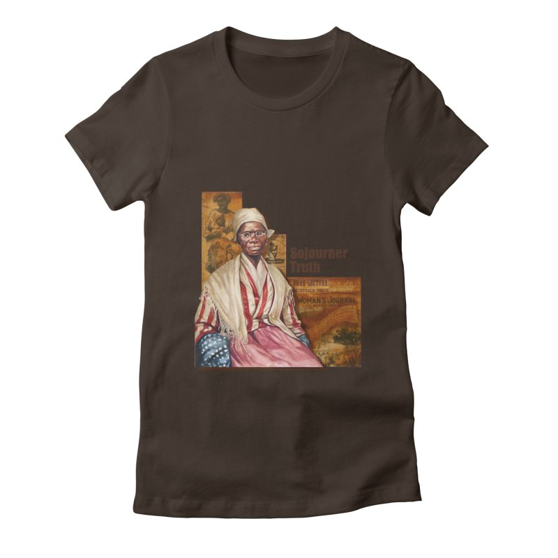 Sojourner Truth in Women's Fitted T-Shirt Chocolate by Afro Triangle's