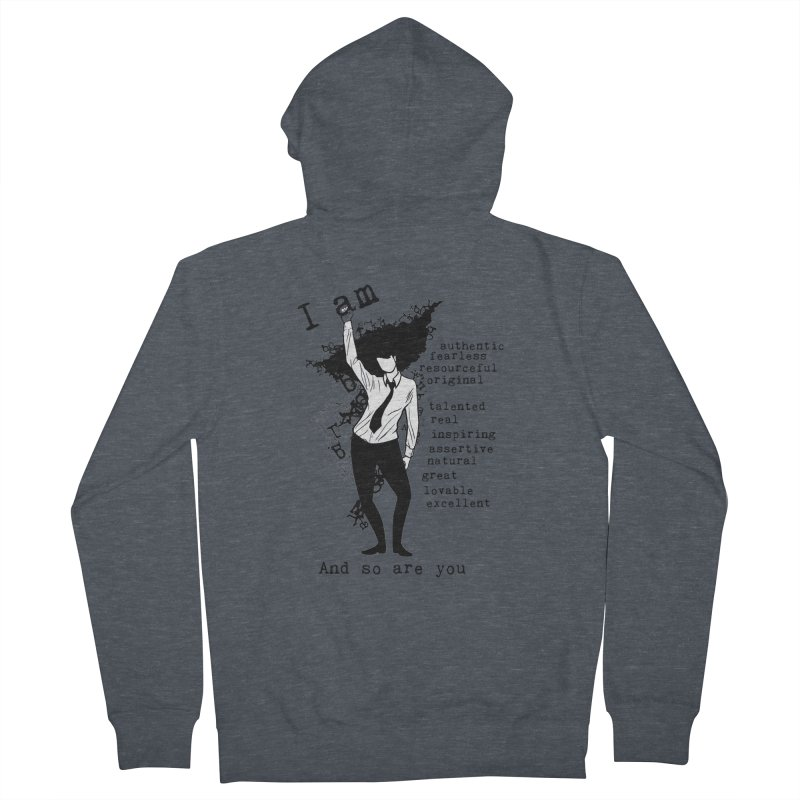 I Am Woman  Women's French Terry Zip-Up Hoody by Afro Triangle's