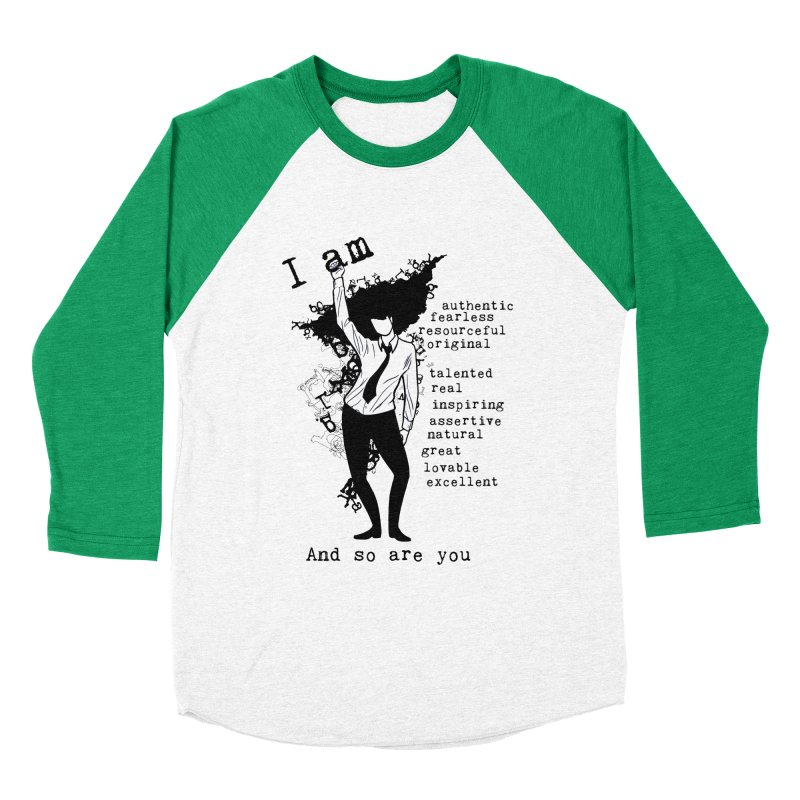 I Am Woman  Women's Baseball Triblend T-Shirt by Afro Triangle's