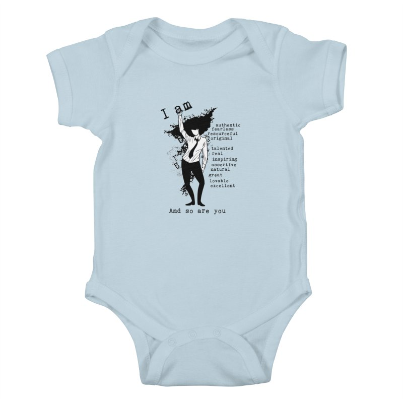 I Am Woman  Kids Baby Bodysuit by Afro Triangle's