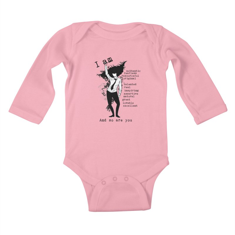 I Am Woman  Kids Baby Longsleeve Bodysuit by Afro Triangle's
