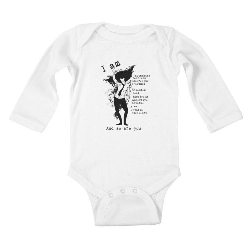 I Am Woman  Kids Baby Longsleeve Bodysuit by Afro Triangle's