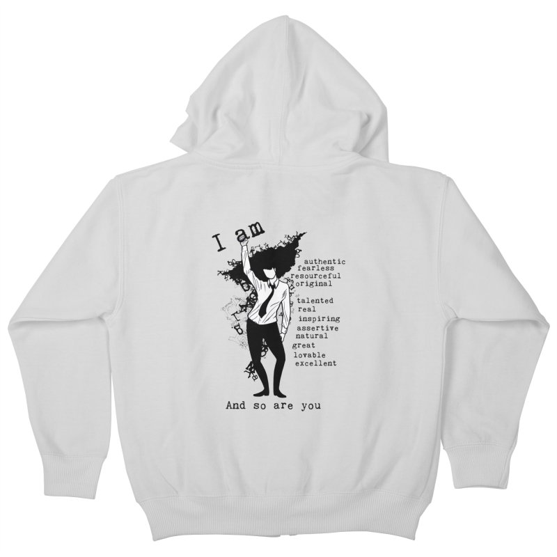 I Am Woman  Kids Zip-Up Hoody by Afro Triangle's