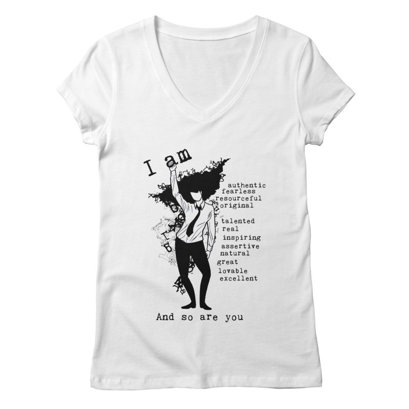 I Am Woman  Women's V-Neck by Afro Triangle's
