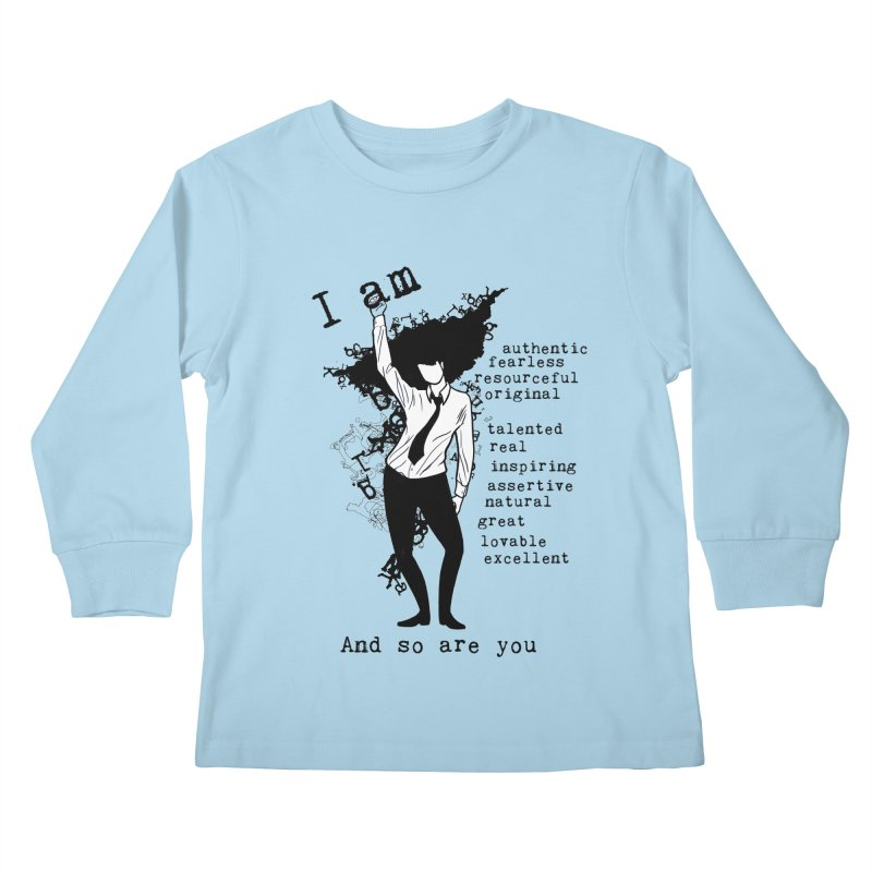 I Am Woman  Kids Longsleeve T-Shirt by Afro Triangle's
