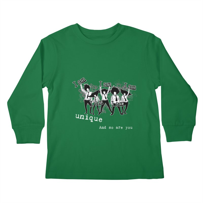 I Am Unique in Kids Longsleeve T-Shirt Kelly Green by Afro Triangle's