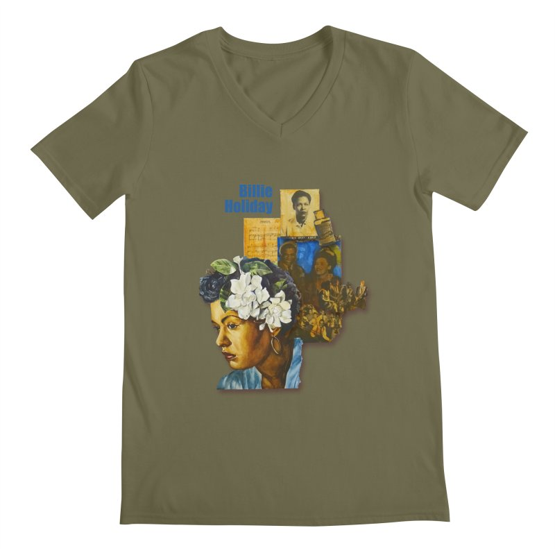 Billie Holiday Men's Regular V-Neck by Afro Triangle's