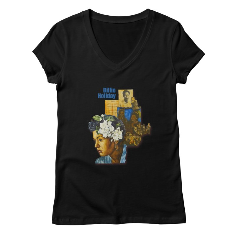Billie Holiday Women's V-Neck by Afro Triangle's