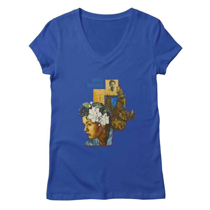 Billie Holiday in Women's Regular V-Neck Royal Blue by Afro Triangle's