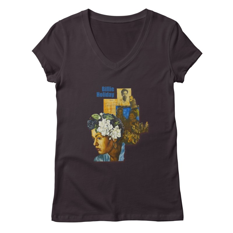 Billie Holiday Women's Regular V-Neck by Afro Triangle's