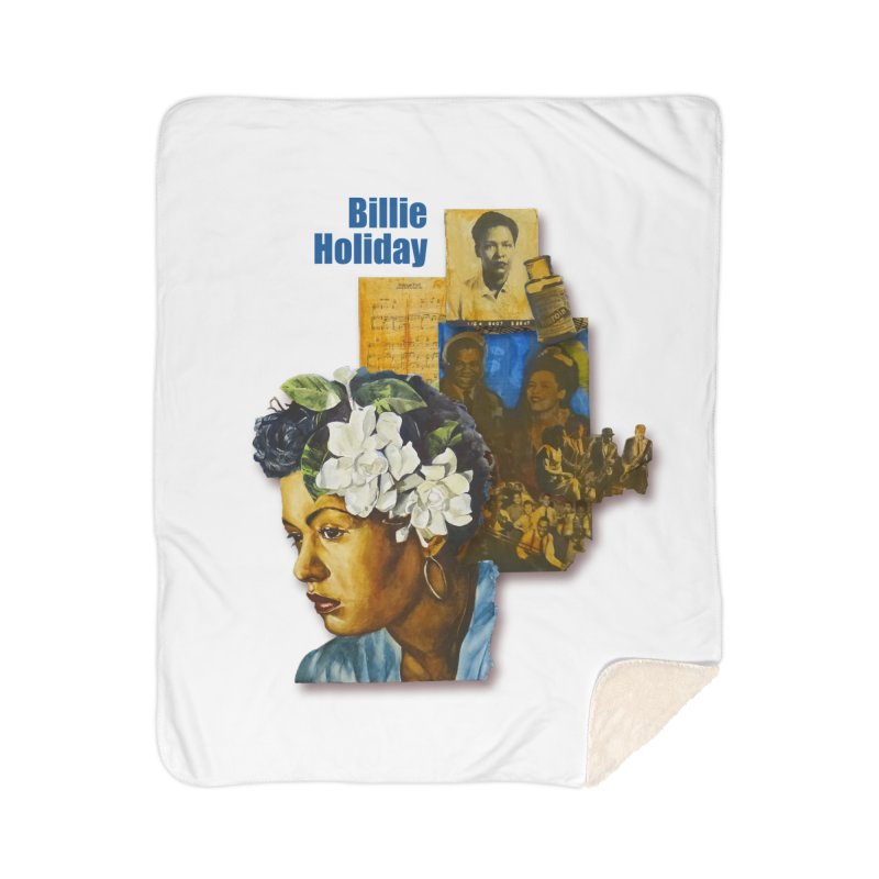 Billie Holiday Home Sherpa Blanket Blanket by Afro Triangle's