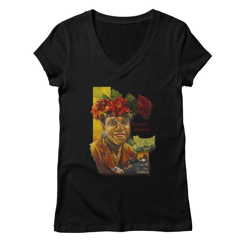 Marsha P Johnson Women's V-Neck by Afro Triangle's