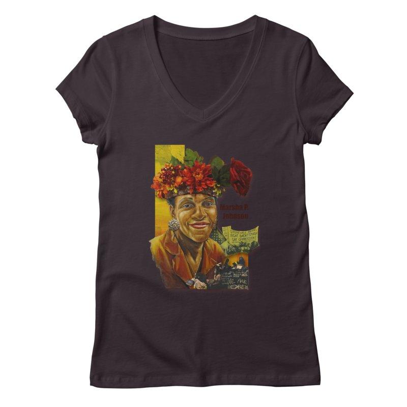 Marsha P Johnson Women's Regular V-Neck by Afro Triangle's