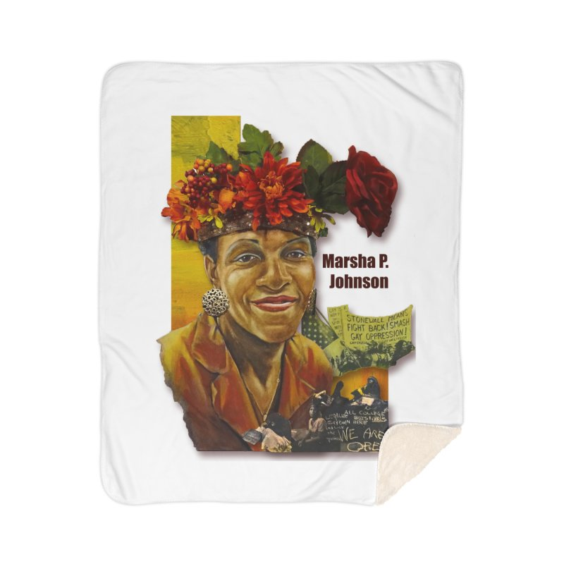 Marsha P Johnson Home Sherpa Blanket Blanket by Afro Triangle's