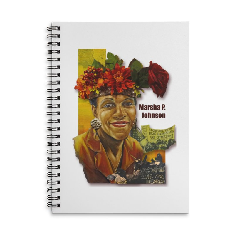 Marsha P Johnson Accessories Lined Spiral Notebook by Afro Triangle's