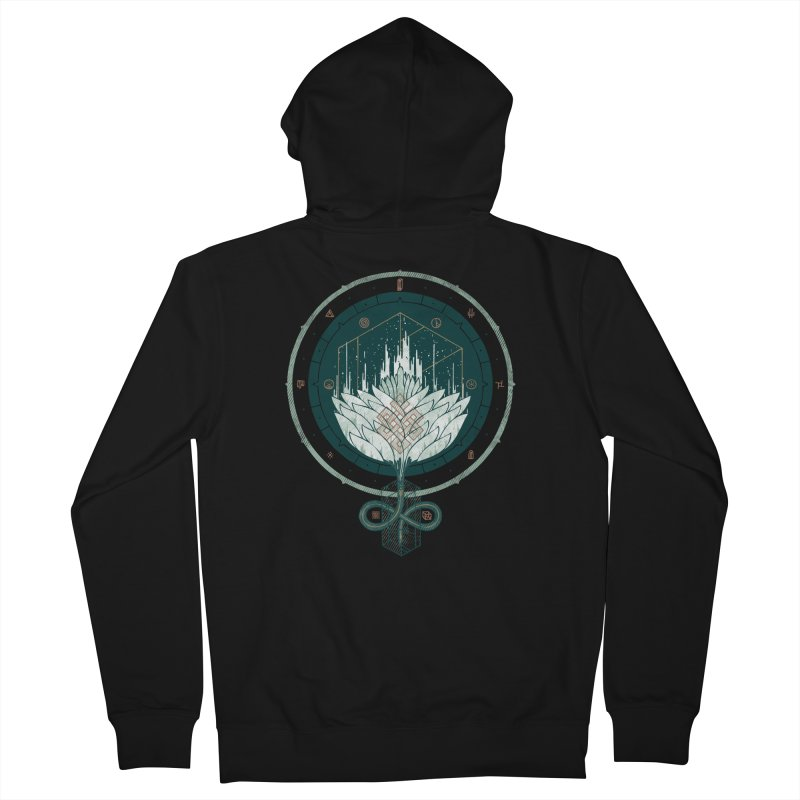 White Dahlia Women's French Terry Zip-Up Hoody by againstbound's Artist Shop