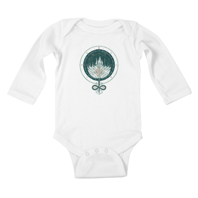White Dahlia Kids Baby Longsleeve Bodysuit by againstbound's Artist Shop