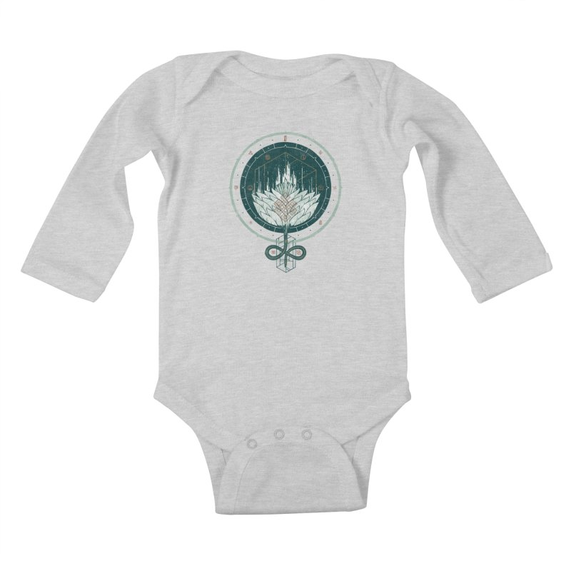 White Dahlia Kids Baby Longsleeve Bodysuit by againstbound's Artist Shop