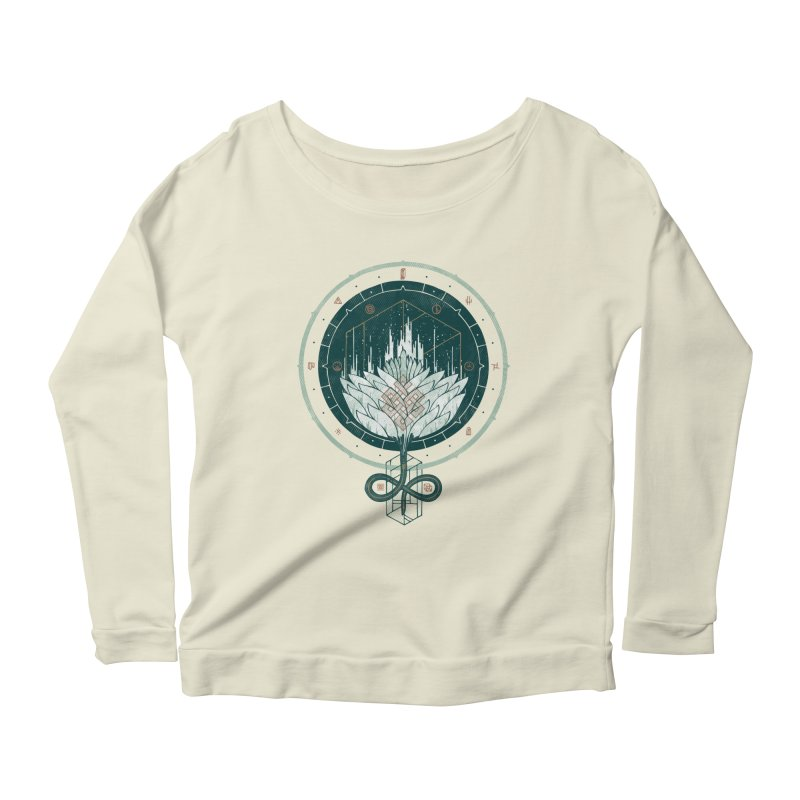 White Dahlia Women's Longsleeve Scoopneck  by againstbound's Artist Shop