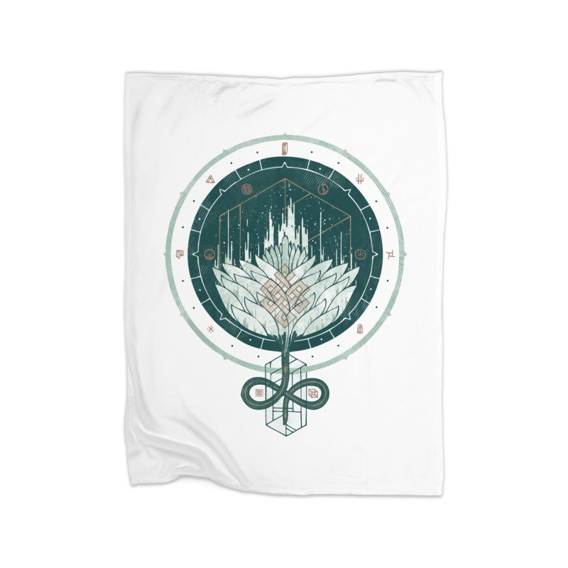 White Dahlia Home Fleece Blanket by againstbound's Artist Shop