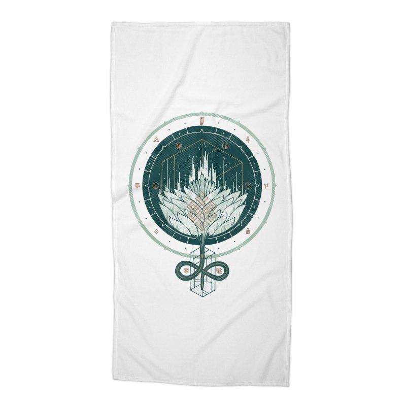 White Dahlia Accessories Beach Towel by againstbound's Artist Shop