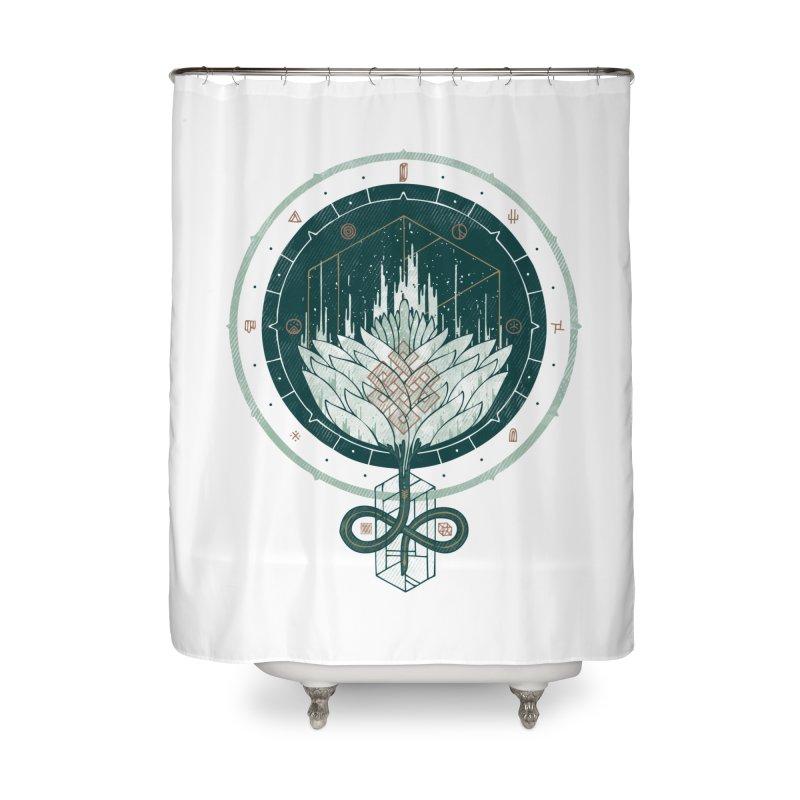 White Dahlia Home Shower Curtain by againstbound's Artist Shop