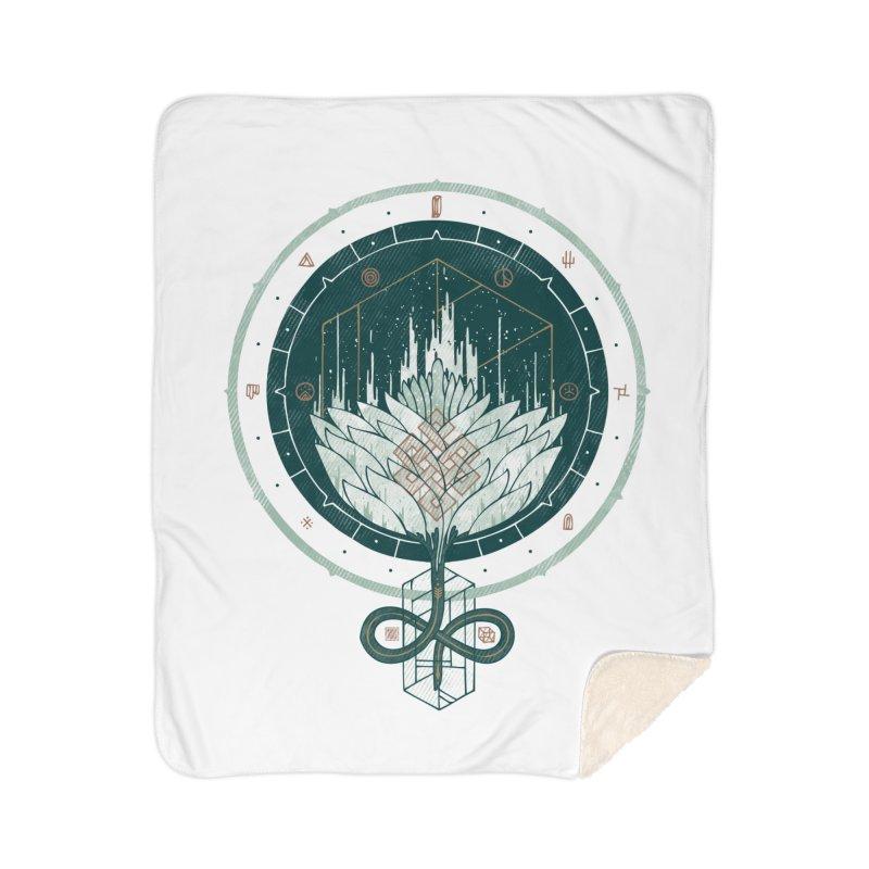 White Dahlia Home Sherpa Blanket Blanket by againstbound's Artist Shop