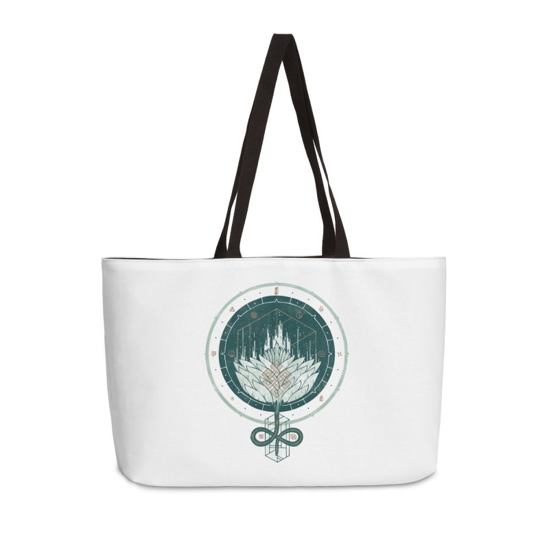 White Dahlia Accessories Weekender Bag Bag by againstbound's Artist Shop