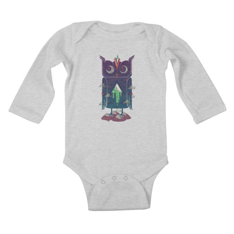Night Owl Kids Baby Longsleeve Bodysuit by againstbound's Artist Shop