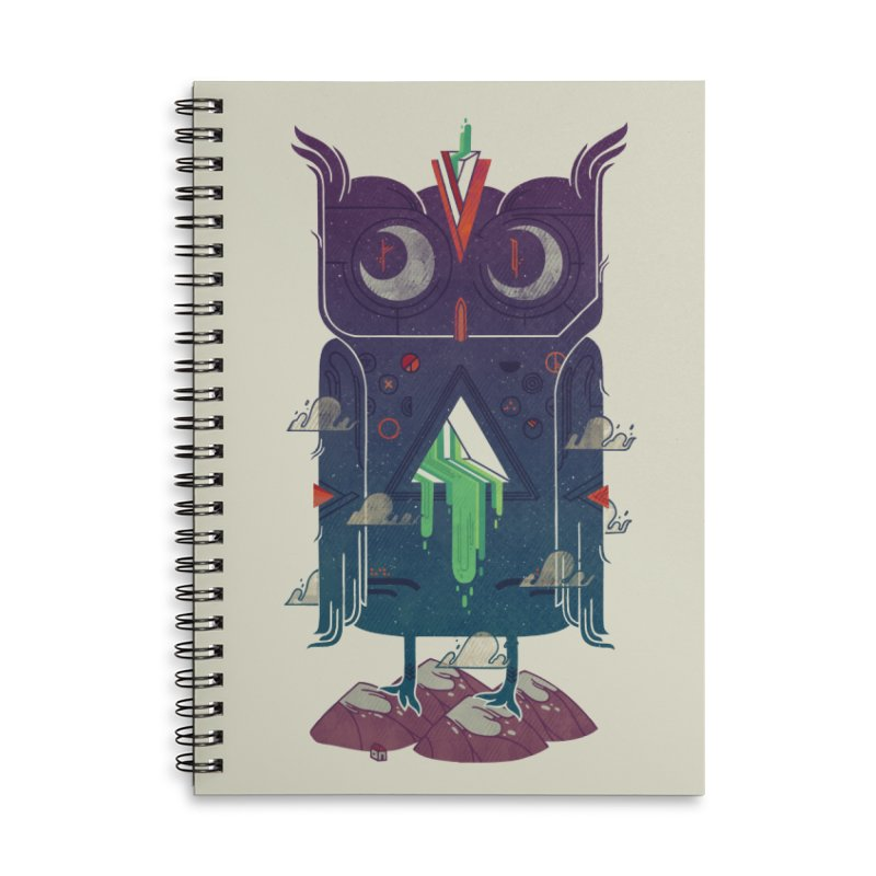 Night Owl Accessories Lined Spiral Notebook by againstbound's Artist Shop