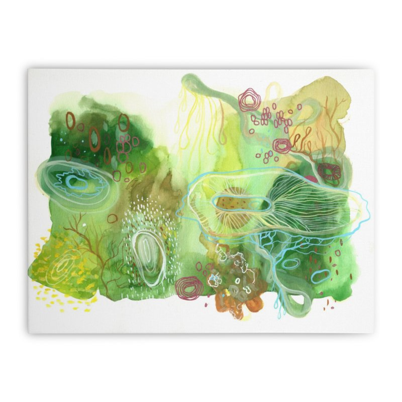 Green Watercolor Home Stretched Canvas by Andrea Jennings