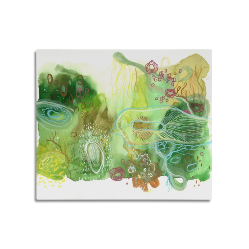 Green Watercolor Home Mounted Aluminum Print by Andrea Jennings