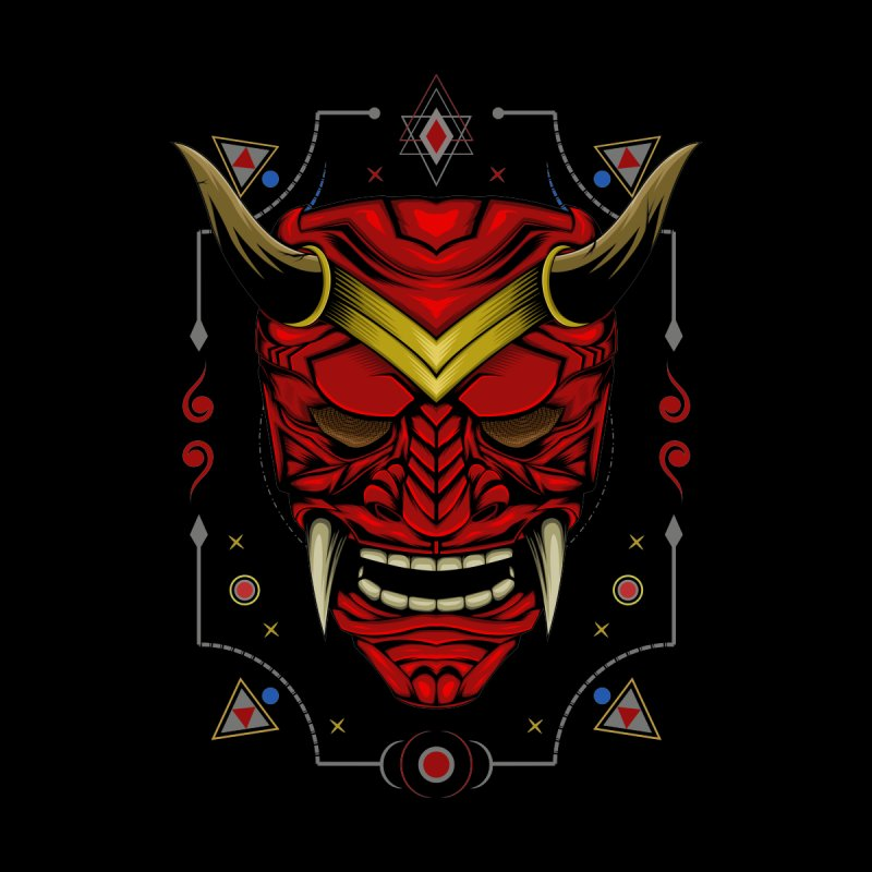 Demon mask illustration with sacred symbol. Japanese design template Accessories Skateboard by Agora Artist Shop