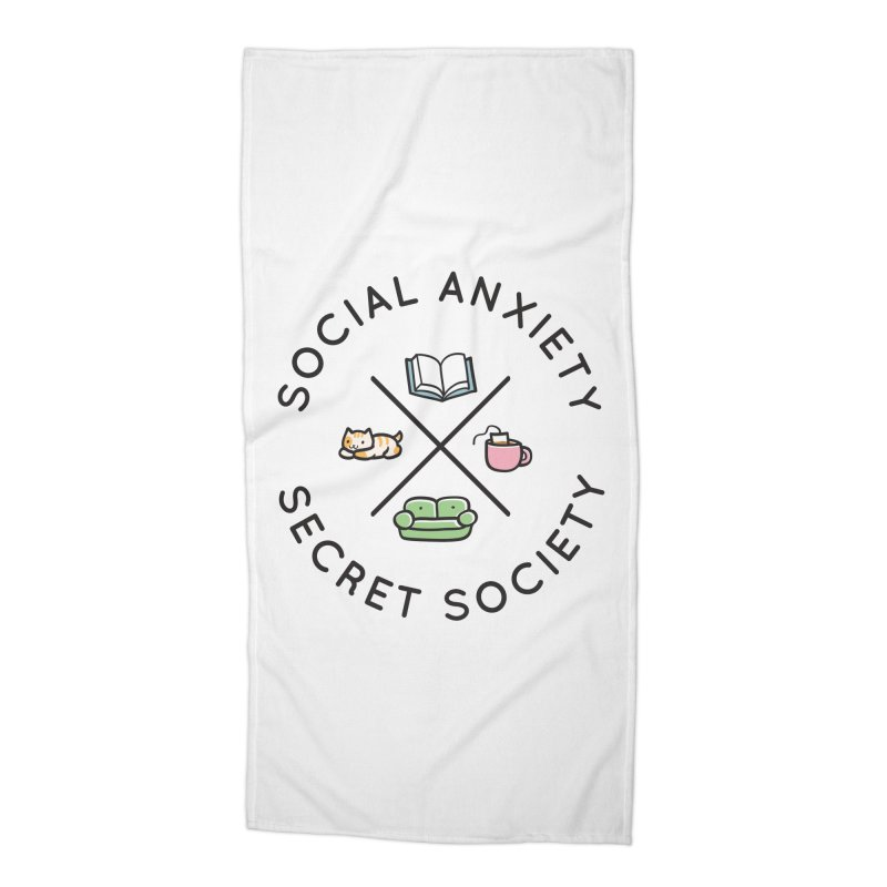 Social Anxiety Secret Society Accessories Beach Towel by agrimony // Aaron Thong