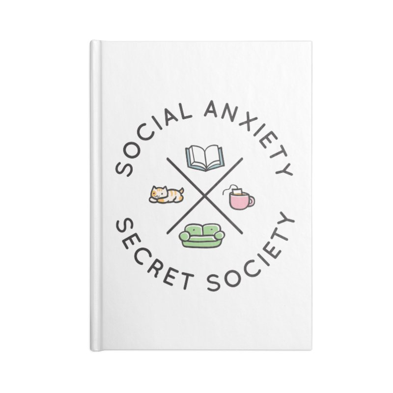 Social Anxiety Secret Society Accessories Lined Journal Notebook by agrimony // Aaron Thong