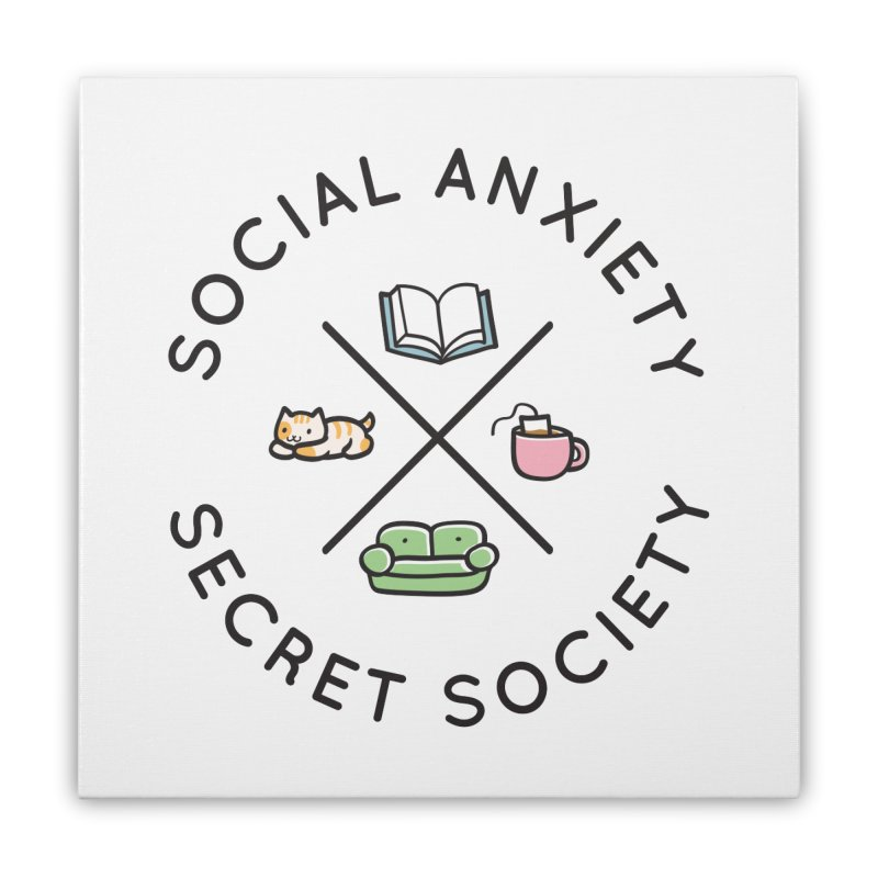 Social Anxiety Secret Society Home Stretched Canvas by agrimony // Aaron Thong