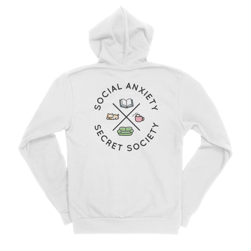 Social Anxiety Secret Society Women's Sponge Fleece Zip-Up Hoody by agrimony // Aaron Thong