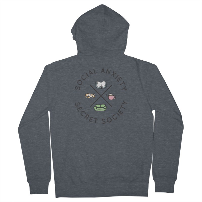 Social Anxiety Secret Society Men's French Terry Zip-Up Hoody by agrimony // Aaron Thong