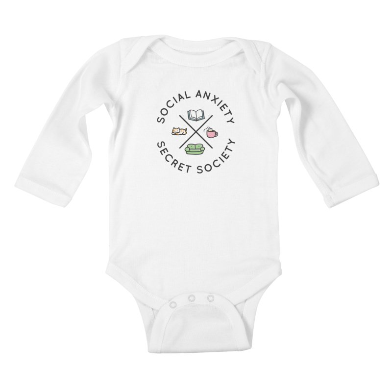 Social Anxiety Secret Society Kids Baby Longsleeve Bodysuit by agrimony // Aaron Thong