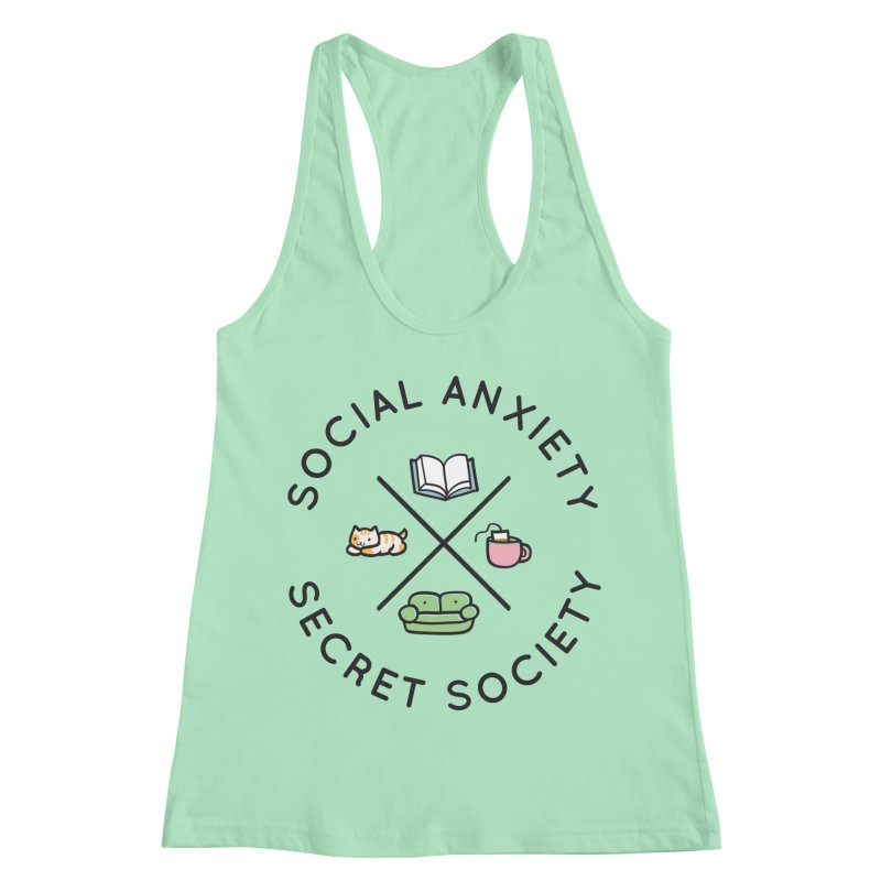 Social Anxiety Secret Society Women's Racerback Tank by agrimony // Aaron Thong