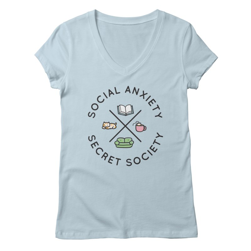 Social Anxiety Secret Society Women's Regular V-Neck by agrimony // Aaron Thong