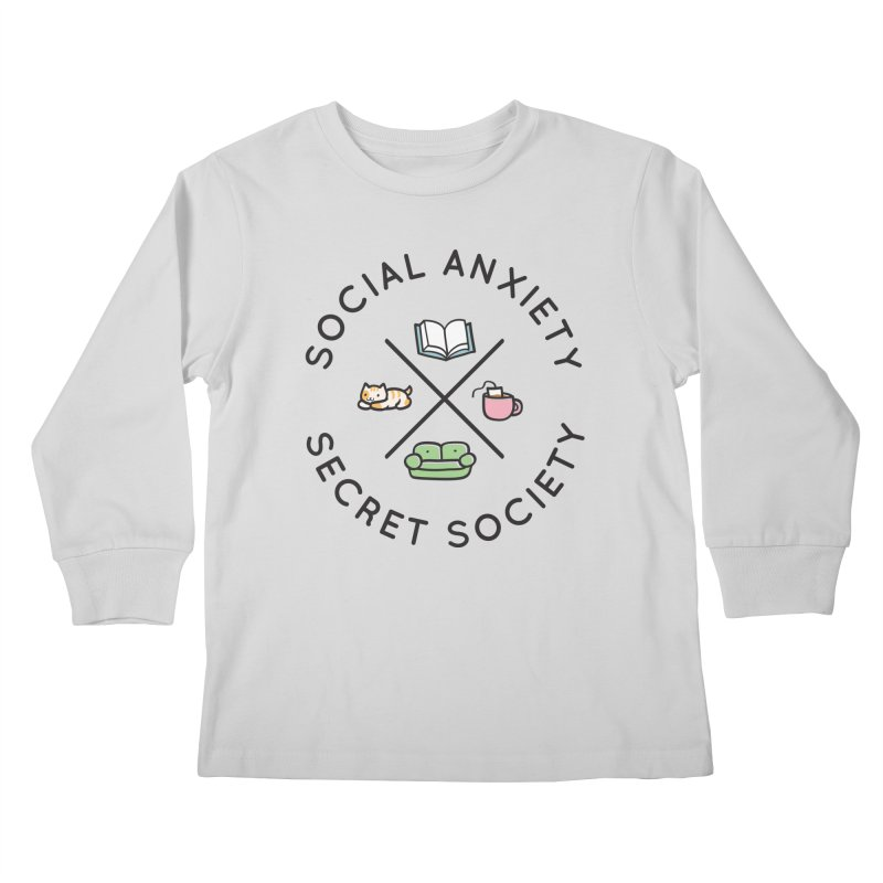 Social Anxiety Secret Society Kids Longsleeve T-Shirt by agrimony // Aaron Thong