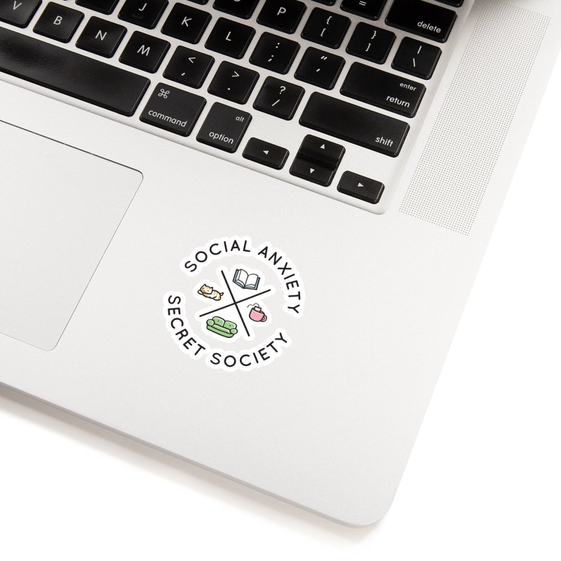 Social Anxiety Secret Society Accessories Sticker by agrimony // Aaron Thong