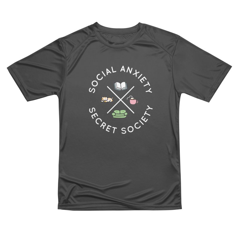 Social Anxiety Secret Society - Black Women's Performance Unisex T-Shirt by agrimony // Aaron Thong