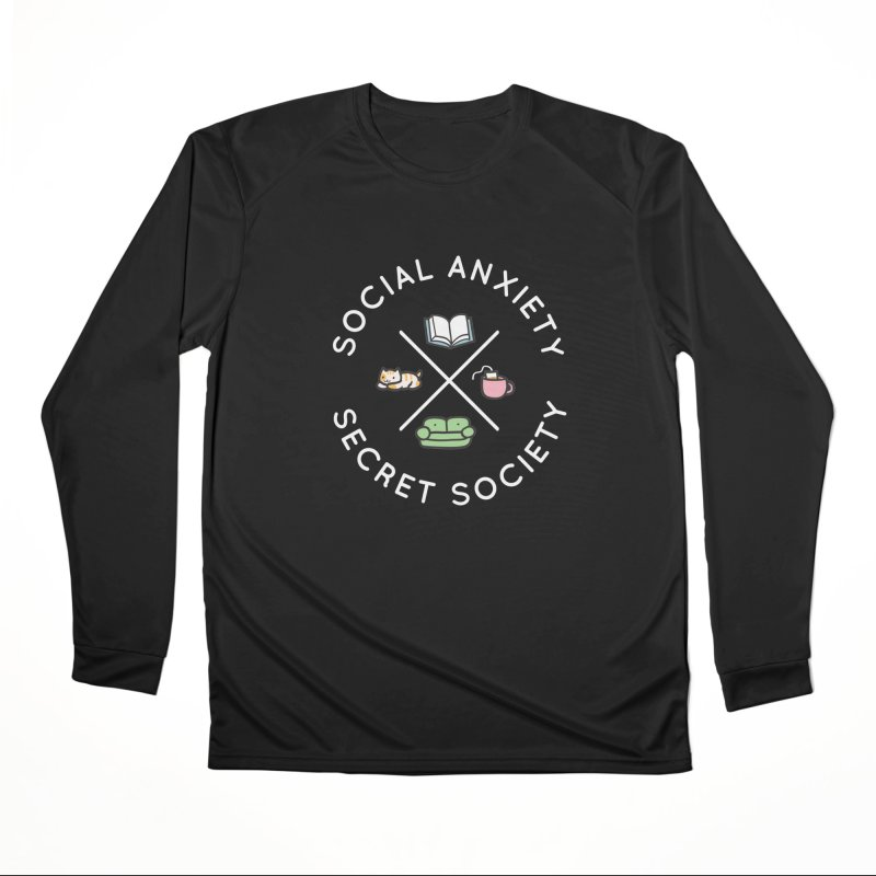 Social Anxiety Secret Society - Black Men's Performance Longsleeve T-Shirt by agrimony // Aaron Thong
